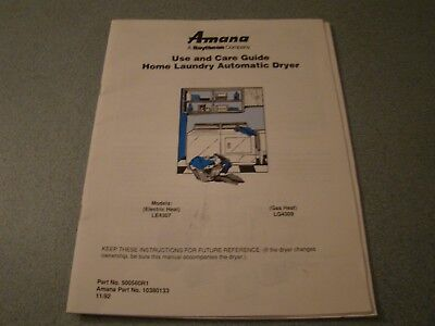 AMANA HOME AUTOMATIC DRYERS GAS/ELECTRIC USE CARE & INSTALLATION 1992-93