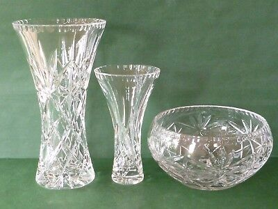 """RD Crystal Cut Glass: 2 Trumpet Vases (10"""" & 7"""") & Fruit Bowl - Wedding/New Home"""