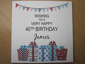 Personalised Handmade Male Birthday Card - 40th 50th 60th 65th 70th 80th 90th