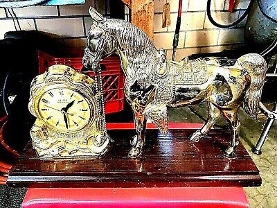 Vintage Cowboy Western Americana Horse Mantel Clock United 313 Brass Tone Works