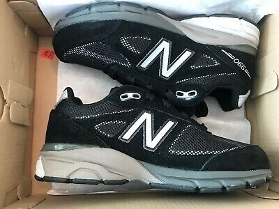 New Balance Boys' KL990V4 Running Shoes, Black/Silver, 12 M US Little Kid