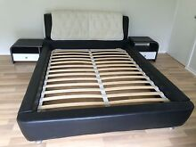 PVC leather Queen size bed frame with two drawer bedside tables North Ryde Ryde Area Preview