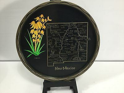"""NEW MEXICO State Map Vintage Black Metal Round Travel Souvenir Tray Plate 11"""""""