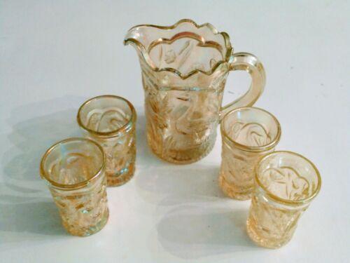 VINTAGE SUMMIT CHILDREN`S YELLOW GLASS PEACOCK FLOWER GARDEN PITCHER & 4 GLASSES