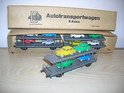 Drei alte PIKO / Dahmer H0 Autotransportwagen mit Trabbi DDR