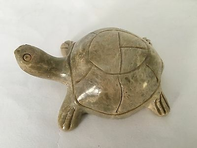 Vintage Carved Stone Turtle Figurine India 4 1/8""