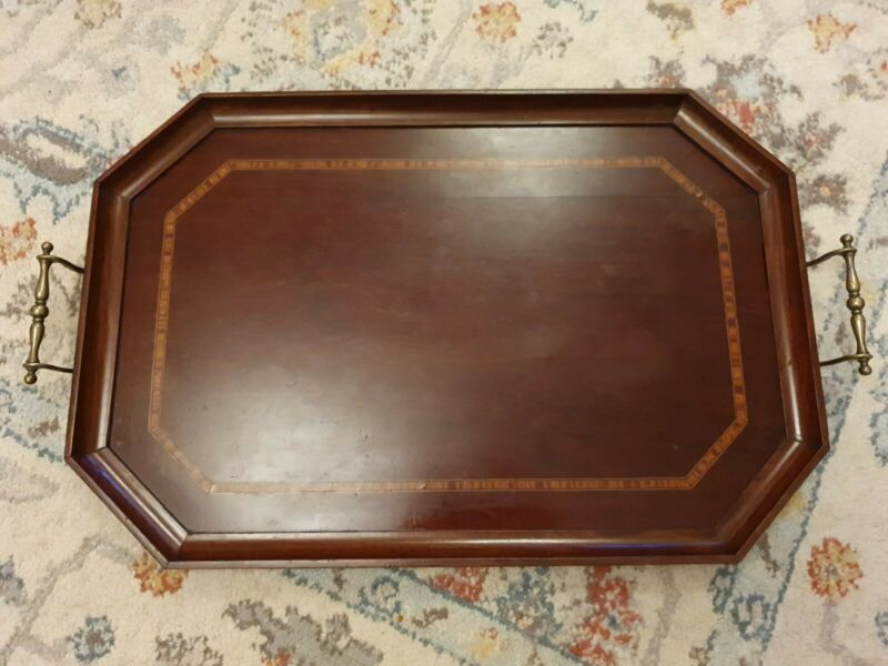 Antique galleried edge Octagonal wooden tray with brass handles & inlay to edges