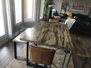 Custom wood and metal table and chairs
