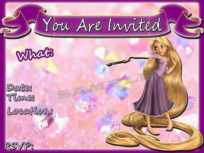 Tangled Party Invitations with matching envelopes, Rapunzel princess, 12pack - Tangled Invitations