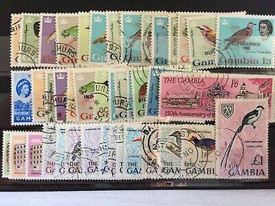 GAMBIA STAMPS - QEII USED RUN OF 47 STAMPS - 1966 BIRDS TO £1 (NO 1d) - (718)