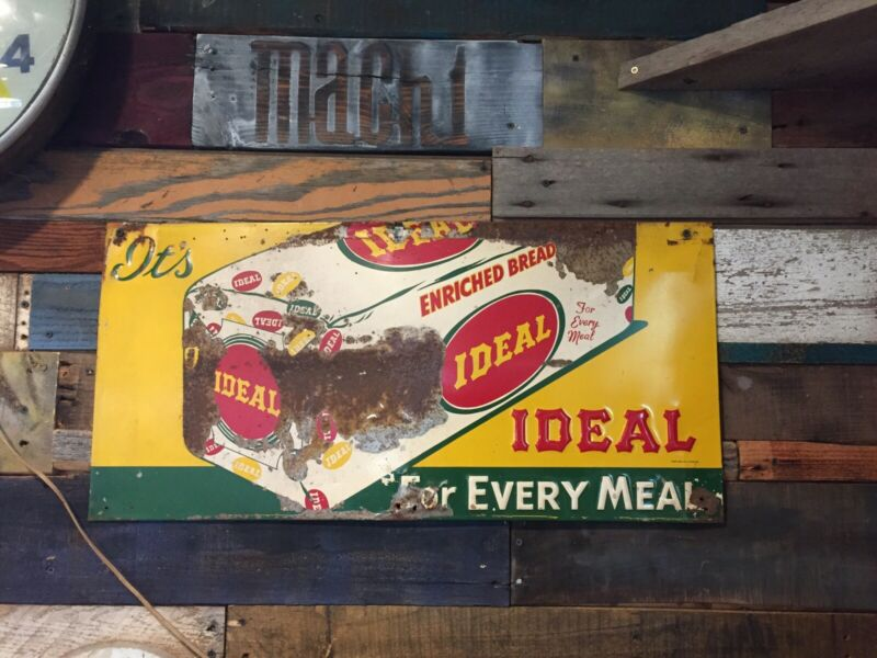 Vintage Ideal Bread for Every Meal Loaf Embossed Metal Sign COUNTRY STORE