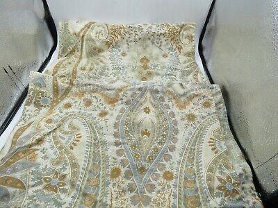 2 Pottery Barn BLYTHE PAISLEY Ivory Brown Blue Standard Size Pillow Shams Cotton