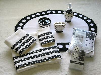 CANNON Black & White Polka Dot Shower Curtain Hooks Towels Accessories 9 pc Set