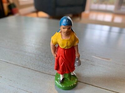 Putz Milk Maid Woman German Germany Nativity Antique Composition Toy