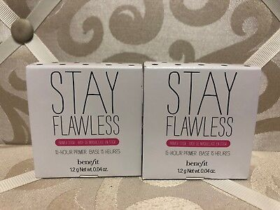 BENEFIT ~ STAY FLAWLESS ~ 15-HOUR PRIMER STICK 0.04 OZ ~ TRAVEL SIZE ~ 2 PC LOT