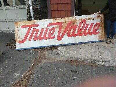 Large ORIGINAL Vintage TRUE VALUE HARDWARE Sign  10' Long * PERFECT PATINA *