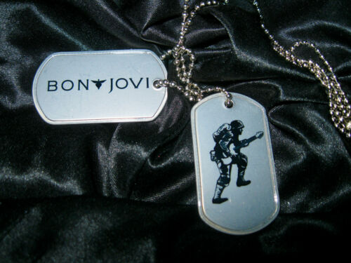 """""""BON JOVI DOUBLE DOG TAG NECKLACE"""" DOG TAGS ARE SCREENED AND NEVER WORN."""
