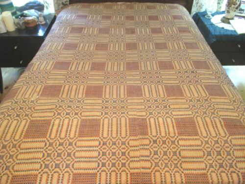 Antique ca. 1850 Hand Woven Natural Dyes COVERLET Flax & Wool Material QUEEN