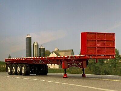 1/64 DCP RED 53' WILSON ROAD BRUTE QUAD AXLE FLATBED TRAILER W/ BULKHEAD 1