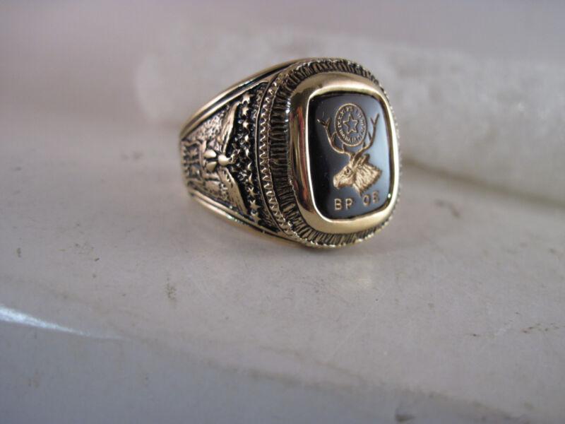 BPOE  crest ring open back  size  12   dark   stone
