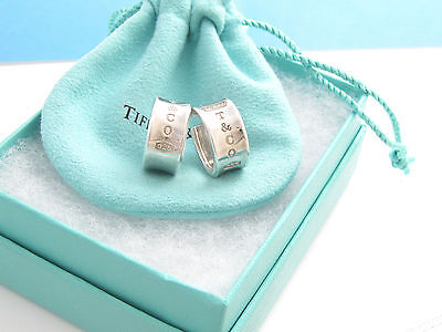 Tiffany & Co. Sterling Silver 1837 Wide Hoop Earrings in Tiffany Pouch and Box