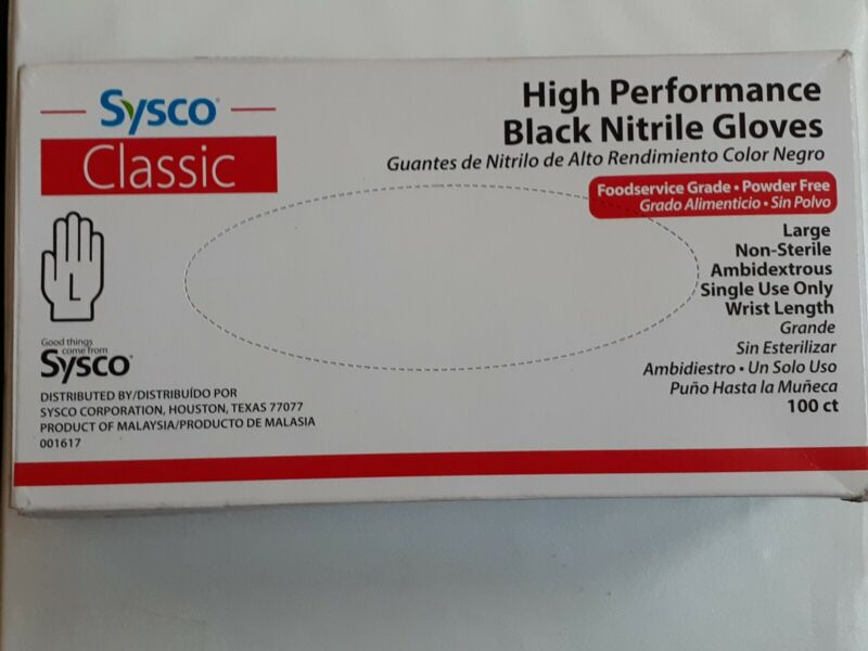 Sysco Nitrile Black Food Service gloves XL large 100 ct New Size XL