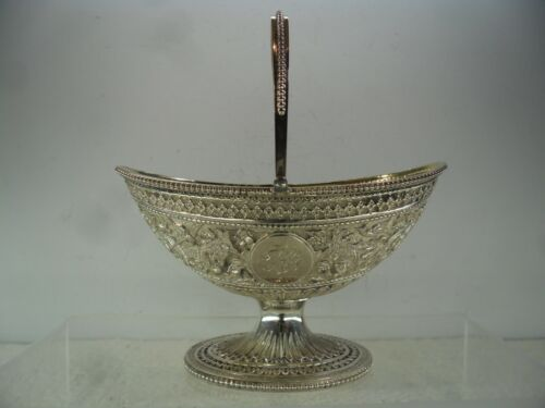 Quality Chased Victorian Solid Silver Swing Handle Sugar Basket, London 1879