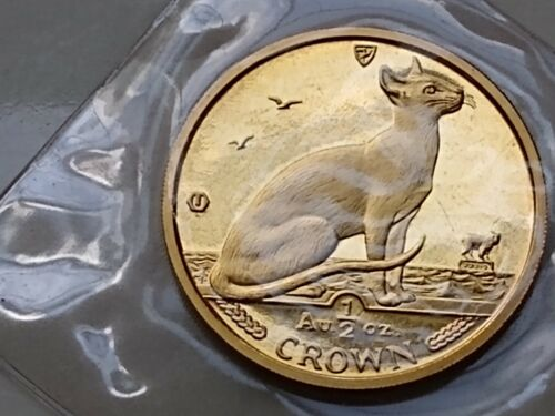 1992 Isle of Man 1/2 oz. GOLD Siamese CAT COIN  - POBJOY MINT SEALED