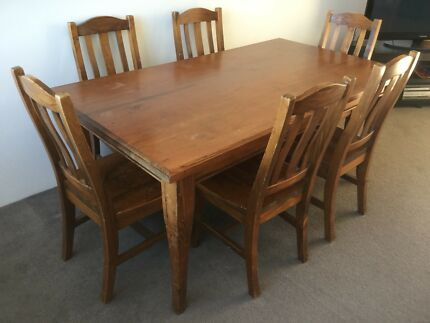 Solid Timber 6 Seater Dining Table Country Farm House Style Moving