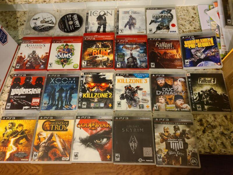 PS3 PlayStation Video Game Lot  Resident Evil Mature Killzone XCOM Troy Skyrim
