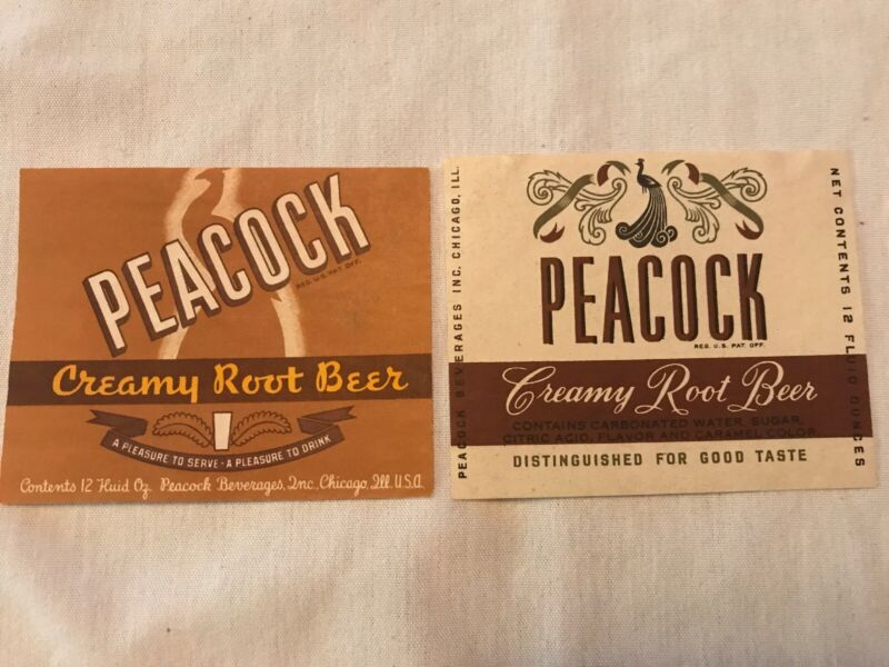 2 Different PEACOCK Beverages Root Beer Vintage Labels, Chicago, Illinois