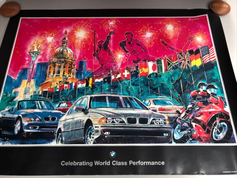 Vintage BMW Olympic Poster 1995 Michael Bryan BMW Poster 27x36