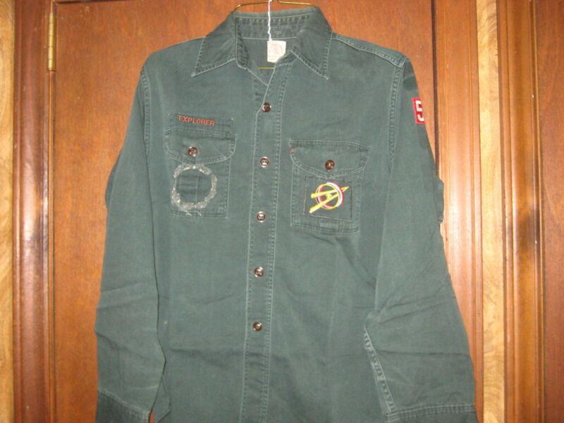 Explorer Dark Green Long Sleeve Shirt 1960s size 14 reg  A8