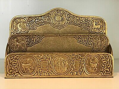 Antique Tiffany Studios Gilt Bronze Zodiac Pattern Desk Letter Holder No. 1009
