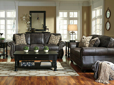 Traditional Living Family Room Couch Set - Gray Faux Leather Sofa & Loveseat G0F ()