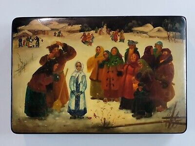 Vintage Russian LARGE Lacquer Handpainted Palekh Box Detailed Russian Women