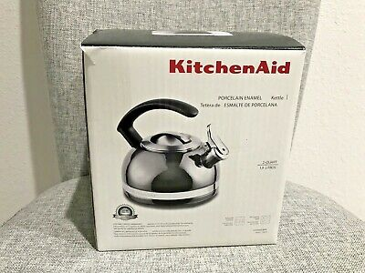New KitchenAid Porcelain Enamel Tea Kettle 2-Quart C-Handle & Trim Band Pyrite