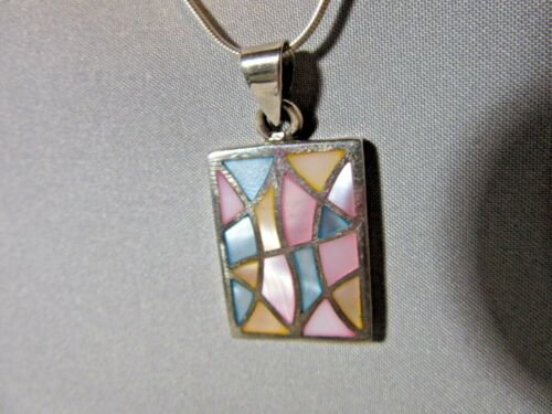 Sterling Silver with Pastel Shell Inlay, Necklace & Earring Set