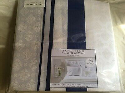 ZARA HOME Hotel Collection King Duvet Cover 100 Cotton White w/Blue New for sale  Shipping to Ireland