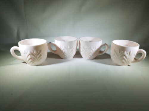 Jeannette SHELL PINK Milk Glass Punch Bowl Cups Set of 4