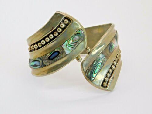Vintage Inlaid Abalone Alpaca Silver Wrap Bracelet Mexico