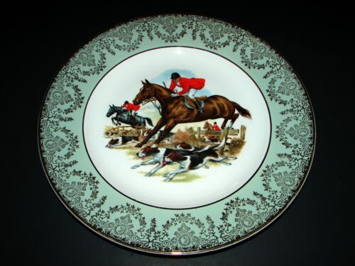 Liverpool RD Pottery Men On Horses Hunting Scene w/Dogs Porcelain Plate England
