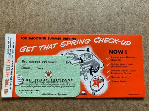 VINTAGE 1947 TEXACO GASOLINE OIL PAPER CREDIT CARD