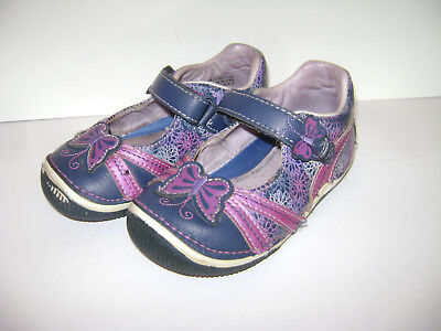 STRIDE RITE SHEENA GIRLS SHOES MARY JANES size 7.5 M BLUE BUTTERFLY LEATHER CUTE