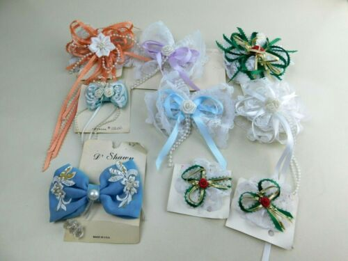 LOT Of 9 HAIR BOWS Fancy Frilly Lace Beads Dressy New Old Stock