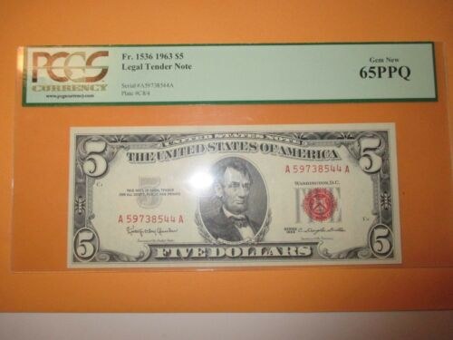 1963 $5 LEGAL TENDER NOTE PCGS GEM NEW 65PPQ (BEAUTIFUL NOTE)