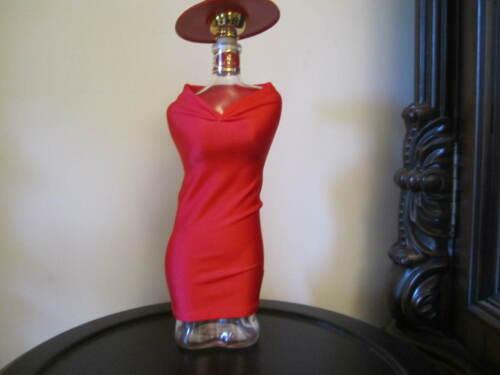 VERY RARE LANDY COGNAC LIQUOR BOTTLE WITH RED DRESS...(BOTTLE SHAPE OF FEMALE)
