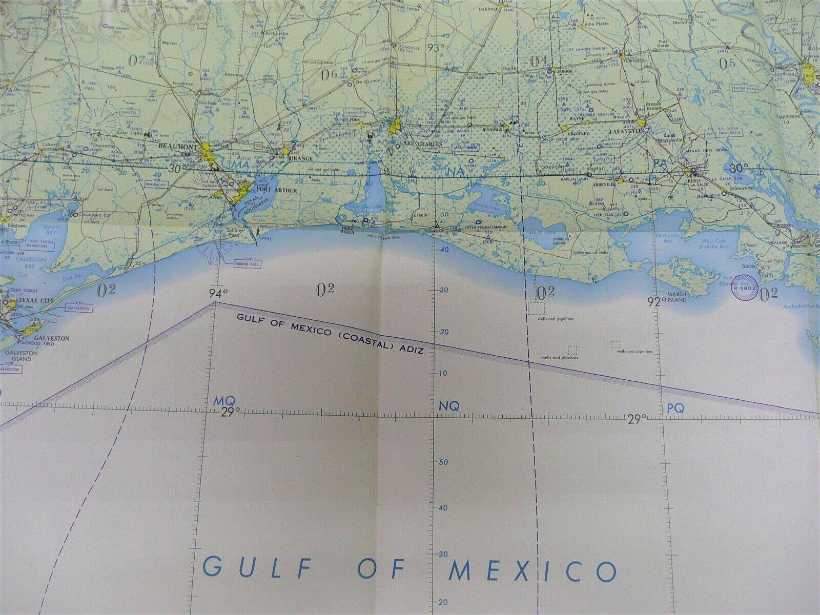 '63 USAF Navigation Chart Galveston Bay Texas New Orleans Aeronautical Sectional