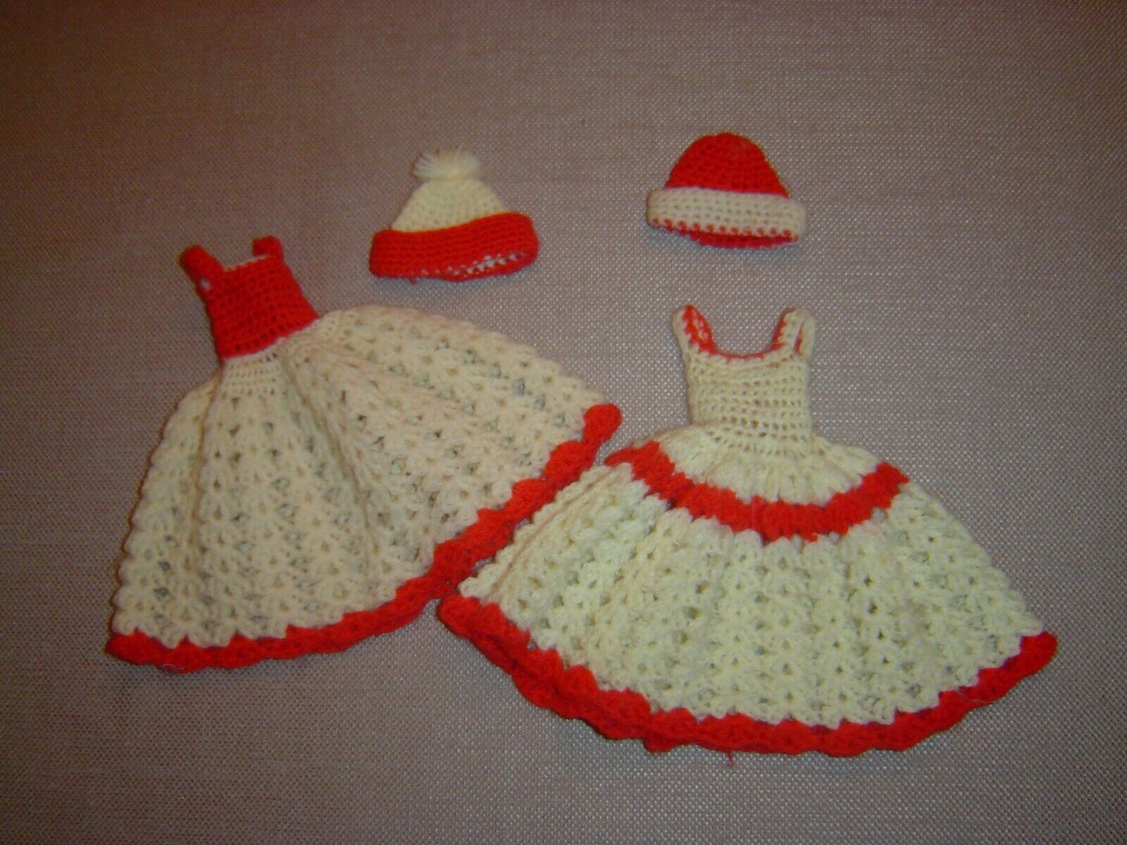 Vintage Barbie - Barbie Two Hand Crocheted Dresses With Caps - $7.99