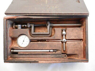 Vintage Starrett Dial Test Indicator Kit 196a Complete In Wood Case Euc